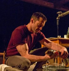 "Hugh Jackman guts a fish in ""The River"" a play Jez Butterworth on Broadway in 2014"