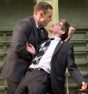 """In Simon Stephen's """"Punk Rock,"""" bully Bennett (Will Pullen) smears lipstick on his intellectual classmate Chadwick (Noah Robbins). The play climaxes in a mass shooting."""