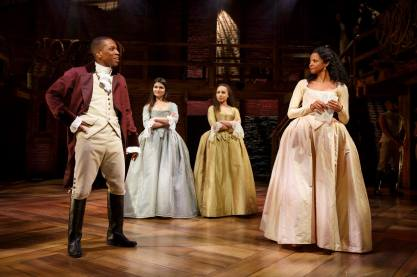 Leslie Odom Jr., as Aaron Burr, Phillipa Soo as Eliza Hamilton, Jasmine Cephas Jones, and Renée Elise Goldsberry as members of the Schuyler family.