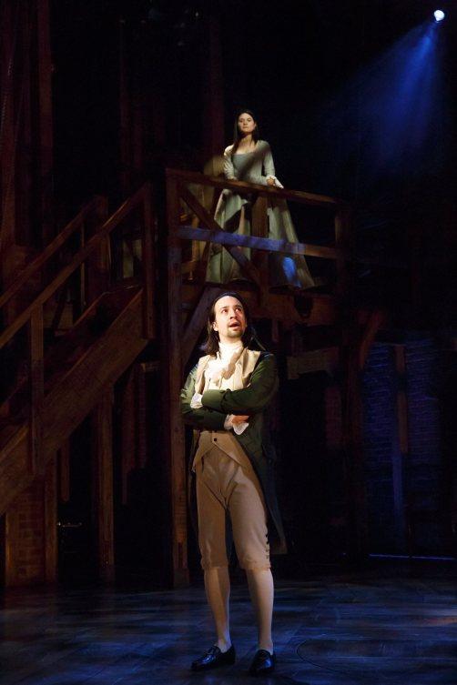 Lin-Manuel Miranda and Phillipa Soo as Mr. and Mrs. Alexander Hamilton