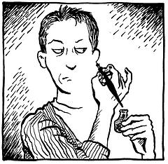 Alison Bechdel (Fun Home) drawn by Alison Bechdel