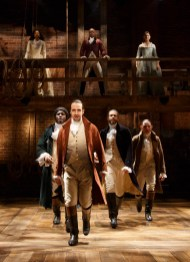 Hamilton Off-Broadway in February, 2015 with original cast memberstop left to right: Phillipa Too as Eliza Hamilton, Leslie Odom Jr. as Aaron Burr,Bottom left to right: Okieriete Onaodowan , Lin-Manuel Miranda, Daveed Diggs, Anthony Ramos. See July 3