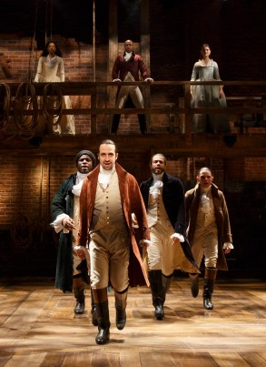 Hamilton Off-Broadway in February, 2015 with original cast members top left to right: Phillipa Too as Eliza Hamilton, Leslie Odom Jr. as Aaron Burr, Bottom left to right: Okieriete Onaodowan , Lin-Manuel Miranda, Daveed Diggs, Anthony Ramos