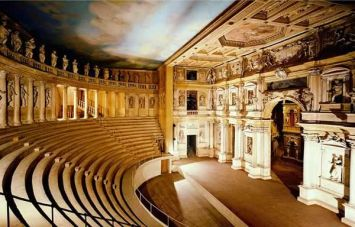 Teatro Olympico (Olympic Theater), in Vicenza, Italy. The oldest surviving enclosed theater in the world, built in the 16th century