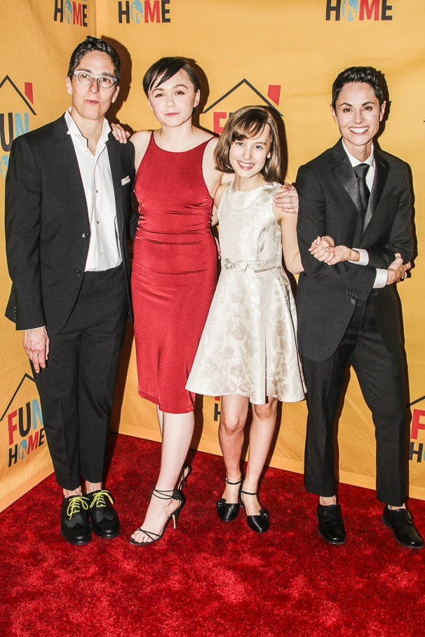 The four Alison Bechdels of Fun Home (l to right): Alison Bechdel, Emily Skeggs (Middle Alison),  Sydney Lucas (Small Alison), Beth Malone (Alison)
