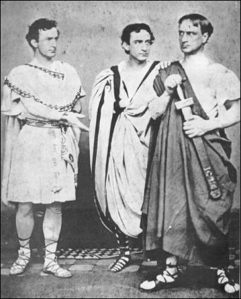 The Booth brothers, Edwin Booth, John Wilkes Booth, Junius Brutus Booth as Brutus, Cassius and Marc Antony, 1864. The following year, the middle Booth assassinated President Lincoln.