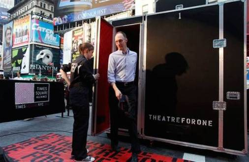 Theatre for One in Times Square in 2011, my first (and somewhat traumatic) experience as a single audience member in a booth with a single performer.