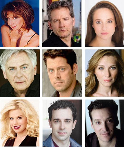Cast of Noises Off Top row: Andrea Martin, Campbell Scott, Tracee Chimo Middle row Daniel Davis, David Furr, Kate Jennings Grant Bottom row Meg Hilty, Rob McClure, Jeremy Shamos