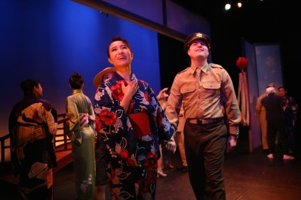 Sayonara 5a Rumi Oyama is Fumiko and Justin McEllroy is Mike Bailey in Pan Asian's SAYONARA photo by John Quincy Lee