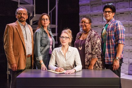 """The New York City premiere of """"Informed Consent"""" at Primary Stages by Deborah Zoe Laufer and directed by Liesl Tommy. The play features (left to right) Jesse J. Perez, DeLanna Studi, Tina Benko, Myra Lucretia Taylor and Pun Bandhu."""