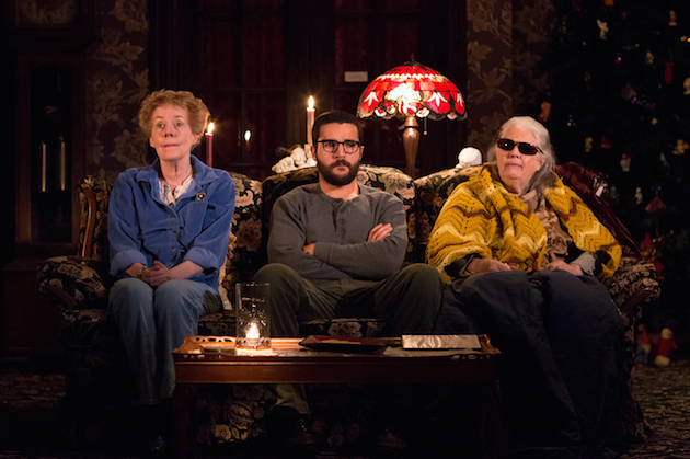 "Signature Theatre presents ""John"" A New Play by Annie Baker; Directed by Sam Gold Pictured: Georgia Engel as Mertis Katherine Graven, Christopher Abbott as Elias Schreiber-Hoffman & Lois Smith as Genevieve Marduk"
