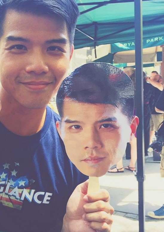Telly Leung with his paper fan 2015