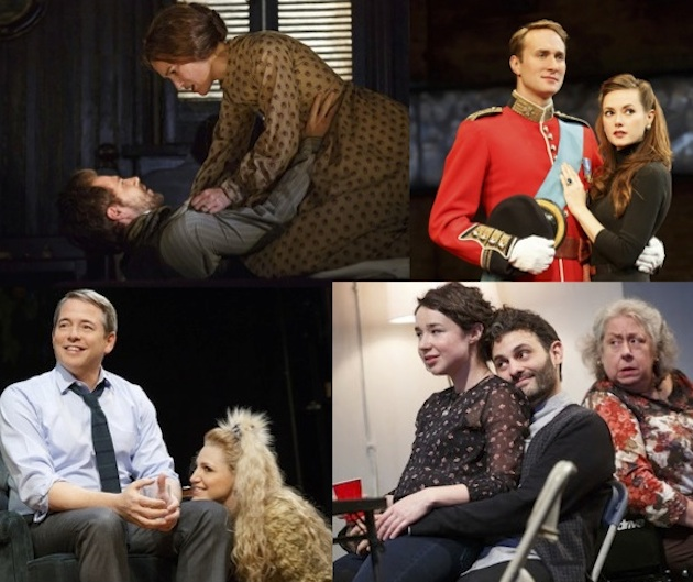 Clockwise from upper left: Thérèse Raquin, King Charles III, The Humans, Sylvia