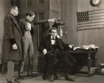 Raymond Massey as Abraham Lincoln in Illinois. Robert Sherwood's play, which won the 1939 Pulitzer for Drama, ran for 14 months, and was revived on Broadway in 1993, begins with Lincoln's childhood. It ends with Lincoln saying goodbye to his friends in Springfield and leaving on a train to assume the presidency.