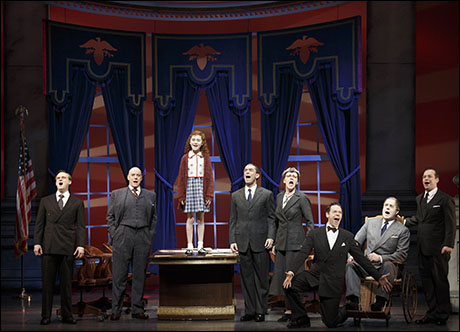In the 2012 revival of Annie, Merwin Foard (second from stage left) portrayed F.D.R. Foard had previously portrayed President James Garfield in Sondheim's Assassins. Presidents are frequently peripheral characters. Theodore Roosevelt has a cameo in Newsies