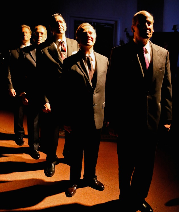 """In """"Five Presidents,"""" a recent play by Richard Cleveland, five presidents pay their respects to Richard Nixon at his 1994 funeral. From left, Brit Whittle (Bill Clinton), Mark Jacoby (George H. W. Bush), Steve Sheridan (Ronald Reagan), Martin L'Herault (Jimmy Carter) and John Bolger (Gerald Ford)."""