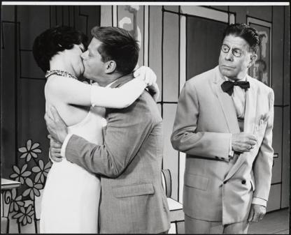 Annie Scott as Rosemary Pillkington, Robert Morse as J. Pierrepont Finch, and Rudy Vallee in How to Succeed 1961