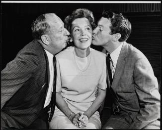 Paul Ford as Harry Lambert, Maureen O'Sullivan as Edith Lambert and Orson Bean as Charlie in Never Too Late, 1962