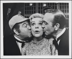 Stubby Kaye as Pooch Kearney, Alice Faye as Professor Kenyon, and John Payne as Bill Johnson in Good News 1974