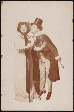 Trixie Friganza as Mrs. Waxtapper and George Beban as Pierre Souchet in The American Idea 1908