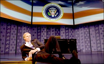 Will Ferrell as President George W. Bush in You're Welcome America: : A Final Night With George W. Bush. Written by Ferrell, the juvenile satire began performances on Broadway the day in 2009 that Bush left office.