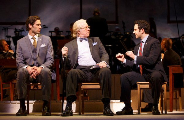 left to right: John Behlmann (Thomas Jefferson), John Larroquette (Benjamin Franklin), Santino Fontana (John Adams),