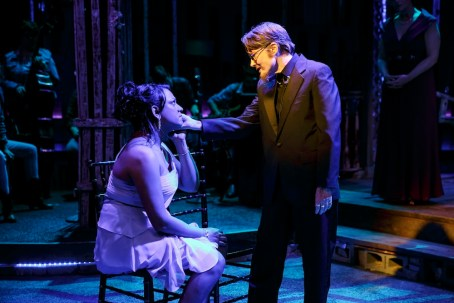 """Aneesh Sheth as Carly and Annette O'Toole as Robert Eads in """"Southern Comfort"""""""