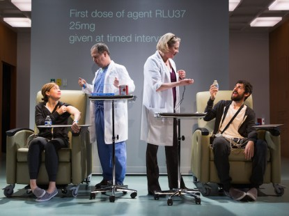 Patients Susannah Flood and Carter Hudson being administered experimental antidepressant by George Demas and Kati Brazda