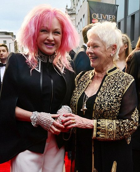 First-time Olivier winner Cyndi Lauper with Dame Judi Dench, who won her eighth Olivier -- more than any other performer