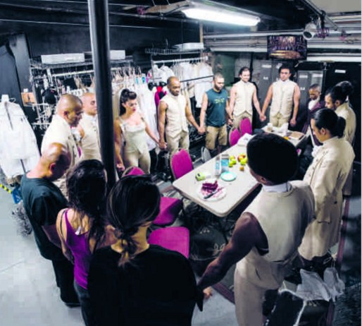 """Hamilton"" cast in a prayer circle before the show."