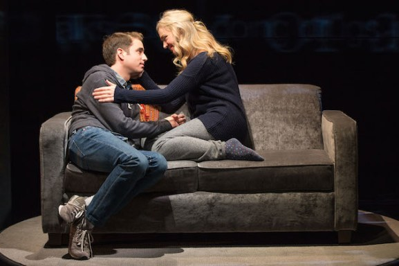 Ben Platt as Evan Hansen and Rachel Bay Jones as his mother Heidi