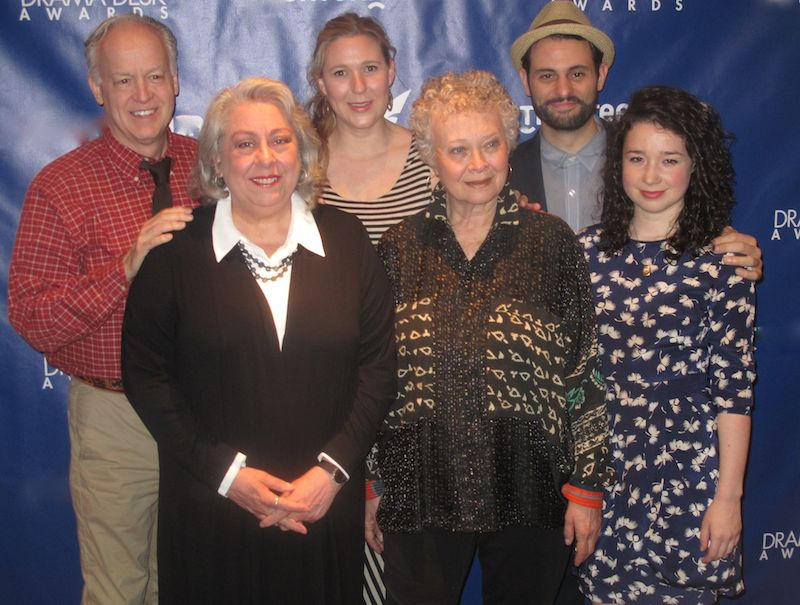 The cast of The Humans, from left to right: Reed Birney, Jayne Houdyshelll, Cassie Beck, Lauren Klein, Arian Moayed photograph by Jonathan Mandell