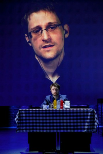 Edward Snowden (in video) with Daniel Radcliffe