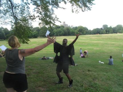 """In the last moment of """"The Last Walk,"""" the very last performance art Walk of the disbanding six-year-old art project Elastic City, Niegel Smith, the associate director of Elastic City, led the participants to a hill in Prospect Park, handed out a sheet with the lyrics, and led us in singing 'Tomorrow"""" from Annie; Elastic City thus proved at the end that the line between theater and avant-garde performance art is not that big after all."""