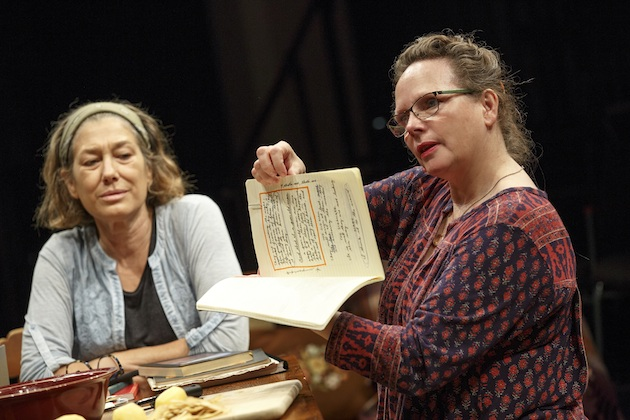 Meg Gibson as Karin (Thomas's first wife) and Maryann Plunkett as Mary (Thomas's widow) in What Did You Expect?