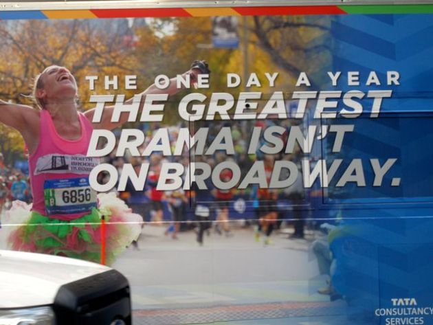 Bus ad for NYC Marathon, Sunday, November 6