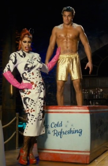 "Laverne Cox (Dr. Frank-N-Furter) and Staz Nair (Rocky Horror) in ""I Can Make You A Man"""