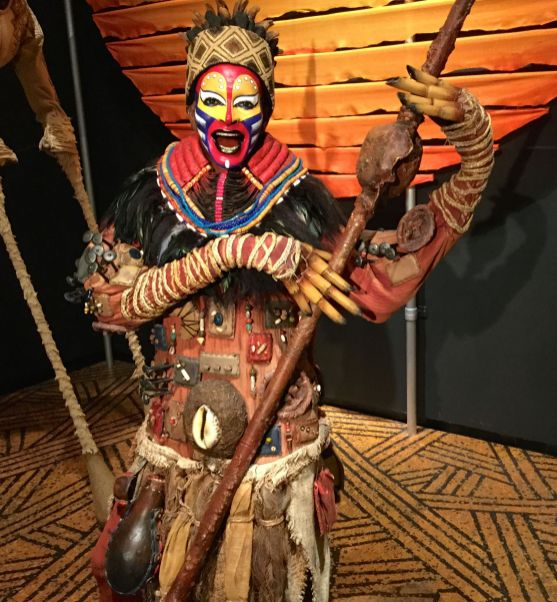 Rafiki manikin at Curtain Up exhibition at the Lincoln Center Library for the Performing Arts
