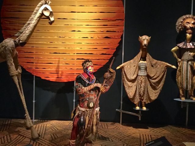 Costumes from The Lion King on display at Curtain Up exhibition
