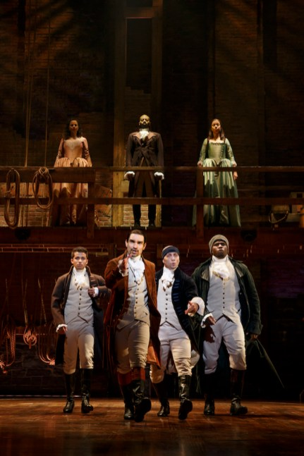 Hamilton, 2016 Front row: Jordan Fisher as John Laurens, Javier Munoz as Alexander Hamilton, Seth Stewart as the Marquis de Lafayette and Okieriete Onaodowan as Hercules Mulligan (who is leaving this month) Top row: Mandy Gonzalez as Angelica Hamilton, Brandon Victor Dixon as Aaron Burr, Lexi Lawson as Eliza Hamilton.