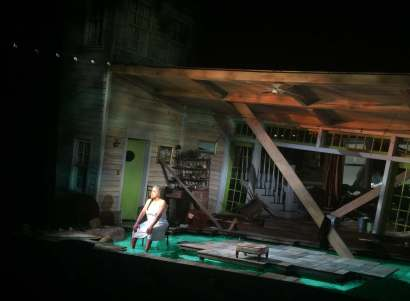 "We've been warned throughout Act I about the coming flood in ""Head of Passes."" When it arrives, G.W. Mercier's set design gives a new meaning to ""creative destruction."" The collapse of the matriarch's house before our eyes is an awesome moment that prepares us for the Job-like monologue by Phylicia Rashad that ends Tyrell Alvin McCraney's play."