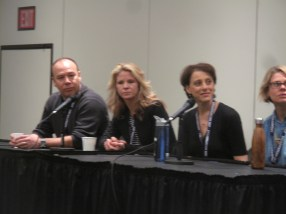 """Danny Burstein, Kelli O'Hara, Judy Kuhn, Celia Keenan-Bolger on the """"Legacy"""" panel, performers who've undertaken iconic roles (originated by performers still associated with the role.)"""