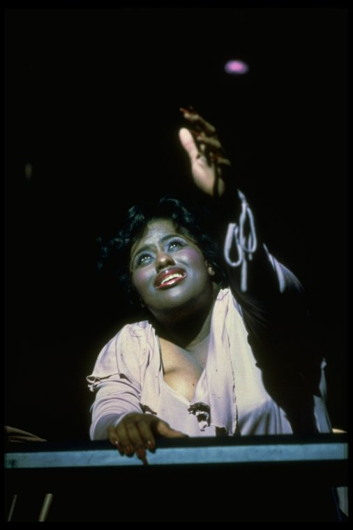 "Jennifer Holliday singing ""And I Am Telling You I'm Not Going"" in a scene from the Broadway production of the musical ""Dreamgirls""."