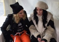 Madonna and Cher backstage before speaking at the Women's March on Washington.