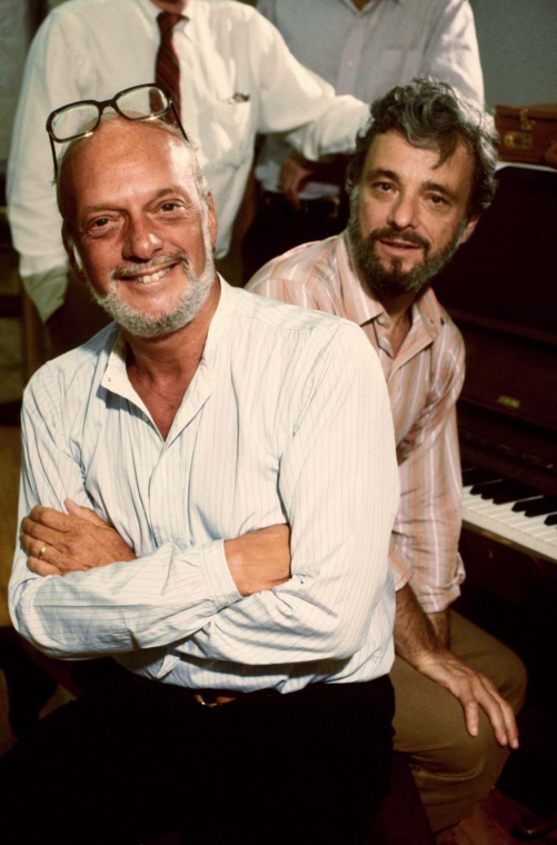 "(L-R) Director Hal Prince & composer Stephen Sondheim in a rehearsal shot fr. the Broadway musical ""Merrily We Roll Along""."