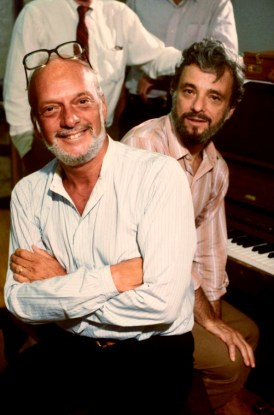 """(L-R) Director Hal Prince & composer Stephen Sondheim in a rehearsal shot fr. the Broadway musical """"Merrily We Roll Along""""."""