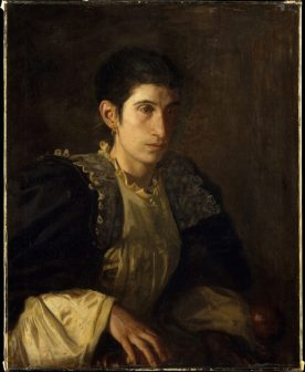 "Although Signora Gomez d'Arza did not belong to Thomas Eakins's immediate circle, she inspired one of his most eloquent portraits. An actress of Italian ancestry, she was married to Enrico Gomez d'Arza, the impresario of a small theater that Thomas Eakins and his wife visited in the Italian quarter of Philadelphia. Susan Eakins recalled in 1927: ""They were very poor, depending on their acting and Signora's teaching young actors, for a living. They could not speak English. Mr. Eakins spoke Italian and learned from her that she had had tragic experiences in her early life. She was about thirty years old when the portrait was painted."