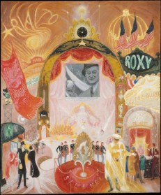 Florine Stettheimer's The Cathedrals of Broadway, 1929 The Cathedrals of Broadway captures the magical atmosphere of neon-lit theaters, which offered films as well as live performances. As the United States entered the Great Depression, many Americans turned to the world of entertainment to escape reality. Here, New York's mayor Jimmy Walker throws out the first pitch of the baseball season in a cinema newsreel. An elaborate stage show takes place below the screen, while the names of famous theaters glow around the central proscenium arch. Stettheimer gives little hint of the harsh conditions that confronted many New Yorkers in the 1930s.