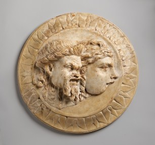 Marble disk with two theater masks in relief, 3rd quarter of 1st century A.D. Roman,