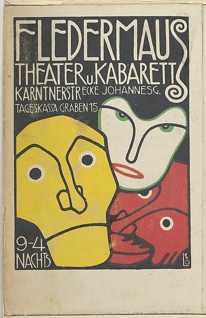 Bertold Löffler (Austrian, Liberec (Bohemia) 1874–1960 Vienna) Three Masks, Fledermaus Theater and Cabaret, 1907 Austrian, Color Lithograph; Sheet: 5 1/2 × 3 9/16 in. (14 × 9 cm) The Metropolitan Museum of Art, New York, Museum Accession, transferred from the Library (WW.70) http://www.metmuseum.org/Collections/search-the-collections/647640